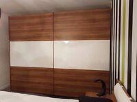 Beautiful walnut effect and white gloss double wardrobe, dresser and storage combination