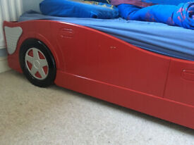 Red Racing Car Bed Wood Frame Single.