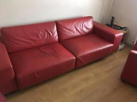 Red leather sofa & chair