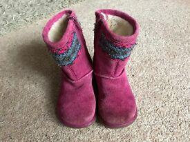 Girls clarkes suedette boots size 6