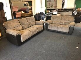LITTLEWOODS SIENNA GREY CORD FABRIC 3 AND 2 SEATER RECLINER SOFA HALF BLACK LEATHER THREE PLUS TWO