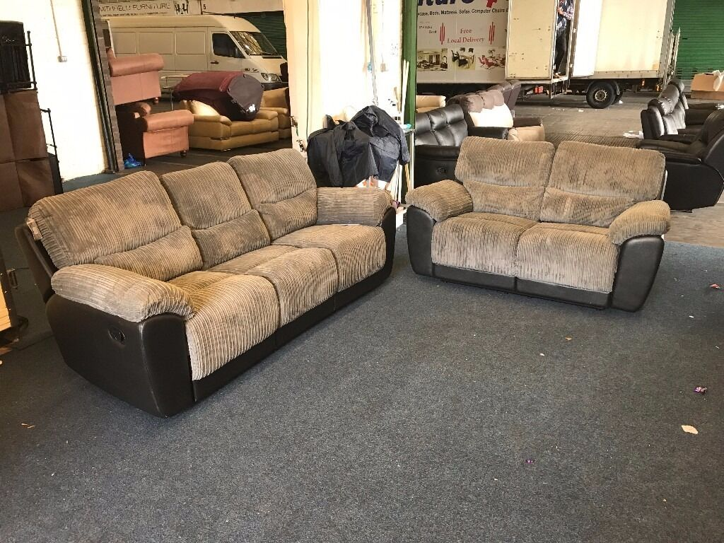 Littlewoods Sienna Grey Cord Fabric 3 And 2 Seater Recliner Sofa Half Black Leather Three Plus