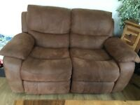 2 x 2 seater faux suede reclining sofas.