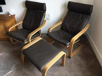 2 x IKEA POÄNG chairs, 1 x footstool, and two sets of cushions/covers