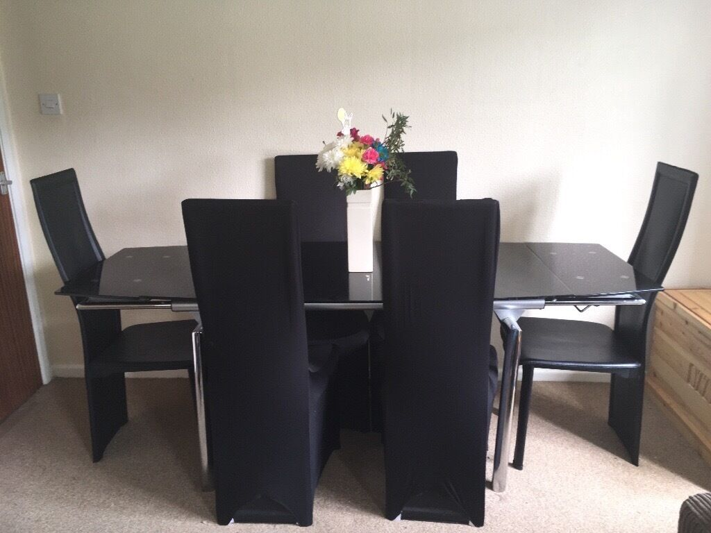 Black Glass Dining Table With 6 Chairs Table Cover And 4 Chair
