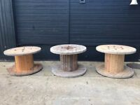 One Wooden Cable Reel Drum/ Coffee Table