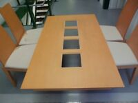WOODEN DINING TABLE WITH GLASS INSERTS AND 4 CHAIRS *GOOD CONDITION*