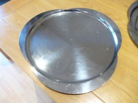 2 stainless steel serving trays