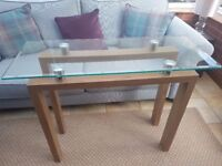Glass topped hall/console table