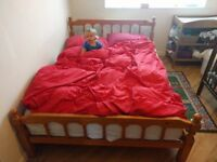 Queen size pine wood bed frame with mattress