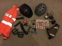 Bicycle bike parts, accessories, helmets, pedals, tools, lights, batteries job lot
