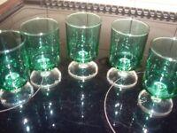 Set of four green glasses