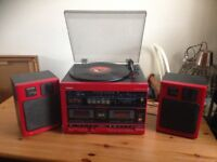 TOSHIBA 80s FUNKY RED STEREO SYSTEM: VINYL RADIO & CASETTE PLAYER
