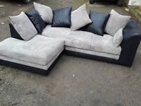 Amazing Brand New black and grey cord corner sofa. left or right hand. delivery