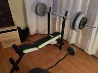 York Fitness Weight Bench AND Weights/Bars