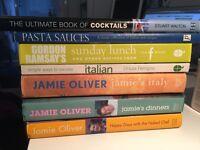 Selection of recipe books- Jamie Oliver, Gordon Ramsay, etc