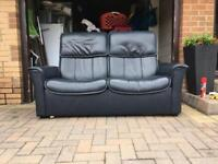 Blue Stressless 2 Seater Leather Sofa