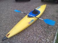 Pyranha master Kayak, spray deck and paddle