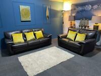Brown leather suite 3 seater sofa and 2 seater sofa