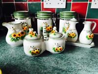 Tea coffee sugar caddies pots milk jug tea set type cow ornaments