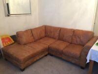 Comfy leather r/h corner sofa