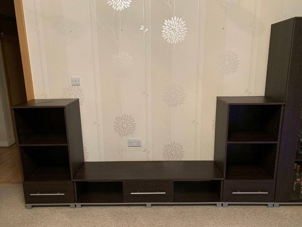 Living room furniture tv unit coffee table drawer unit glass door cupboard perfect condition