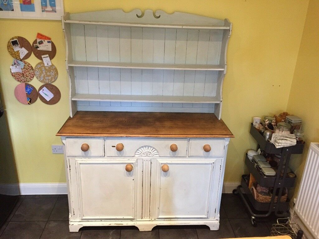 Shabby Chic Kitchen Dining Room Dresser Country Duck Egg Distressed Effect Solid