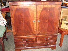 Mahogany tv cabinet, satelitte, videos etc