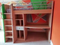 High Sleeper Bed cabin bunk bed + Desk and Cupboards + IKEA Bed tent for sale  Carryduff, Belfast