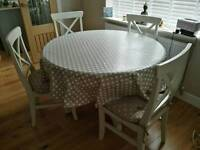 120cm round dining table 4 chairs