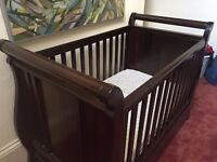 Boori Sleigh cot/bed with John Lewis mattress