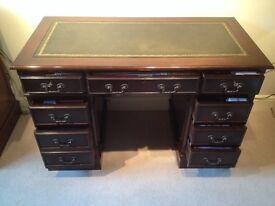 Reproduction mahogany pedestal desk