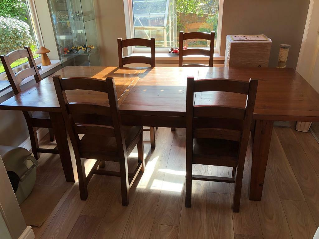 Barker And Stonehouse Handmade Reclaimed Wood Extendable Dining Table 8 Chairs
