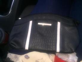 Faux Crocodile Skin Pattern Black Make Up Bag
