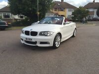 2009 BMW 1 SERIES 2.0 118i M SPORT WHITE CONVERTIBLE / RED LEATHER