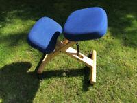 Adjustable wooden kneeling stool