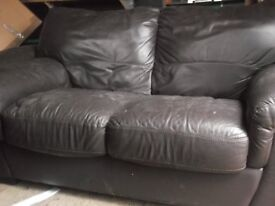 2 seater and arm chair dark brown leather