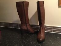Ladies leather zip up boots size 4 colour brandy by Heavenly Feet Anti Fatigue Footwear