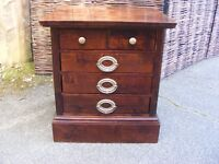 small Mahogany chest with 5 drawers and brass handles