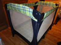 Mothercare Travel Cot / Play Pen Green and blue checker pattern