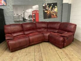 HARVEYS SUEDE FABRIC RED GOVERNOR RECLINER CORNER SOFA 299 FREE DELIVERY