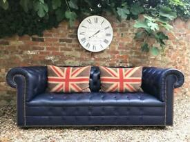 Stunning rare blue button base Chesterfield sofa. Can deliver.