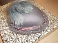 Vintage C&A Formal Event Hat Mother of the Bride, Wedding, Ascot, Grey Bowler Style