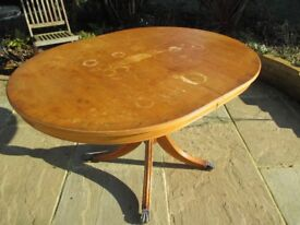 Yew Dining Table with 4 chairs and 2 carvers - In need of Restoration