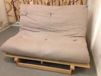 Futon Company Sofa Bed Solid Wood Base + Thick Double Sofabed Mattress 2 Seater sofa or double bed