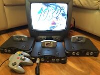 Nintendo 64 Console + One Game (Pilot Wing, Wave Race, 1080) N64 Console