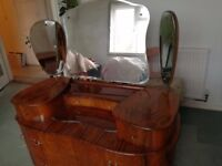vintage burr walnut chest of drawers with mirrors - solid wood throughout