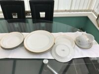 Waterside Bone China Dinner Service, 2 place setting, White with Gold edging.
