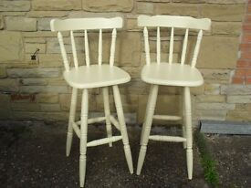 Shabby Chic Farmhouse Solid Pine Country Bar Stools In Farrow & Ball Cream No 67