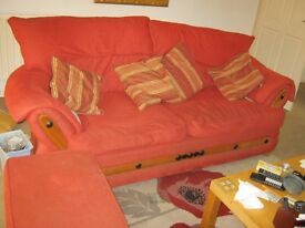 3 seater sofa and footstool, including scatter cusions